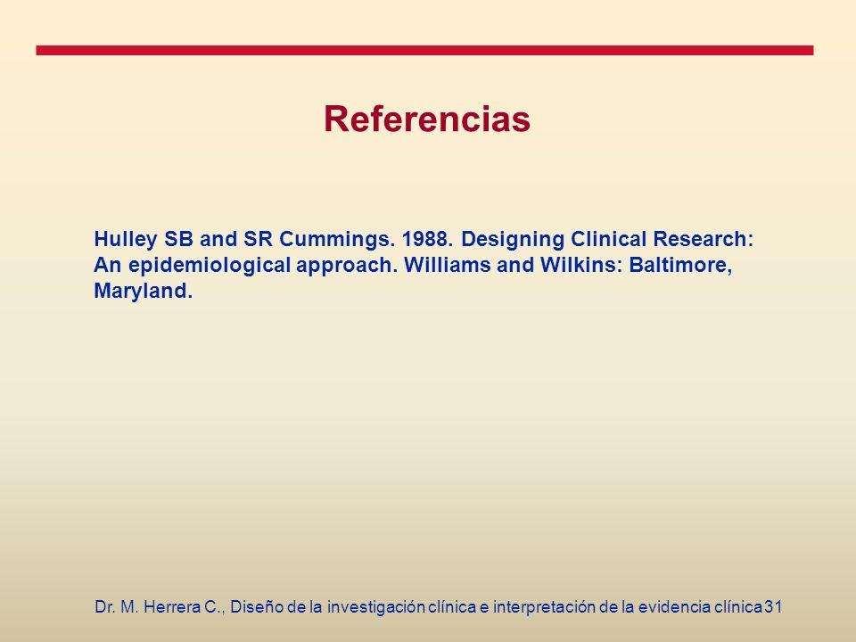 31Dr. M. Herrera C., Diseño de la investigación clínica e interpretación de la evidencia clínica Referencias Hulley SB and SR Cummings. 1988. Designin