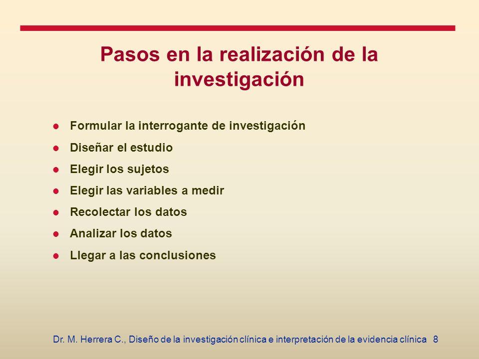 8Dr. M. Herrera C., Diseño de la investigación clínica e interpretación de la evidencia clínica Pasos en la realización de la investigación Formular l