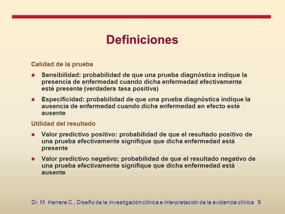 9Dr. M. Herrera C., Diseño de la investigación clínica e interpretación de la evidencia clínica Definiciones Calidad de la prueba Sensibilidad: probab