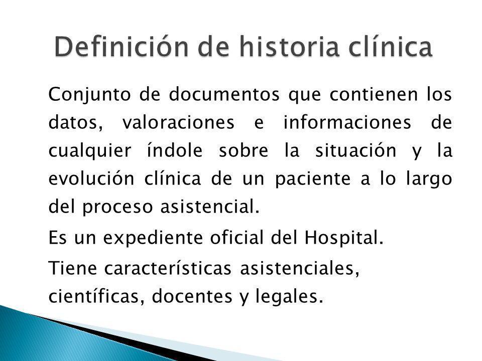 Conjunto de documentos que contienen los datos, valoraciones e informaciones de cualquier índole sobre la situación y la evolución clínica de un paciente a lo largo del proceso asistencial.