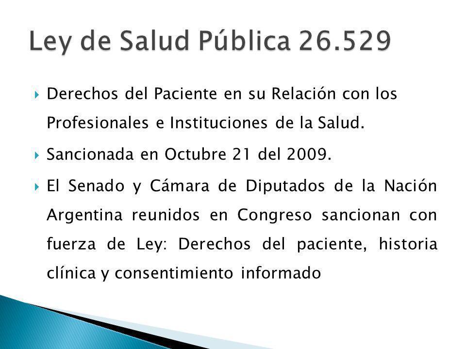 Derechos del Paciente en su Relación con los Profesionales e Instituciones de la Salud.