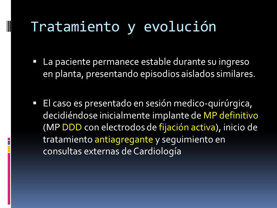 Tratamiento y evolución La paciente permanece estable durante su ingreso en planta, presentando episodios aislados similares. El caso es presentado en