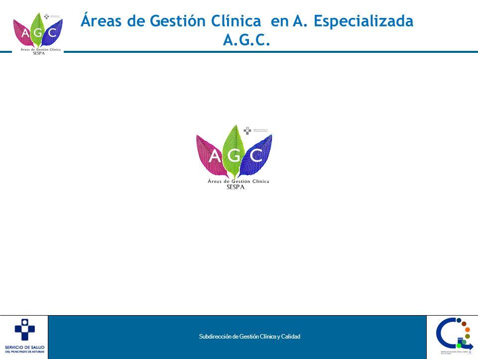 Subdirección de Gestión Clínica y Calidad Áreas de Gestión Clínica en A. Especializada A.G.C.