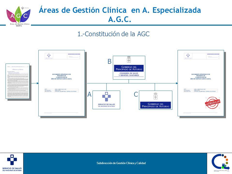 Subdirección de Gestión Clínica y Calidad Áreas de Gestión Clínica en A. Especializada A.G.C. AC B 1.-Constitución de la AGC