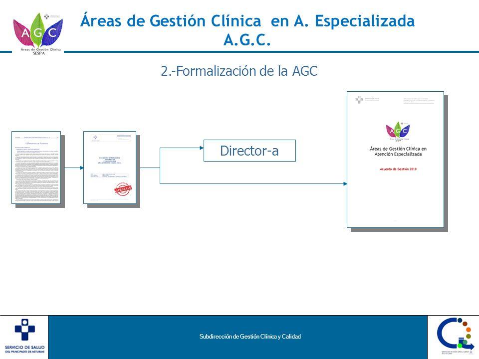 Subdirección de Gestión Clínica y Calidad Áreas de Gestión Clínica en A. Especializada A.G.C. 2.-Formalización de la AGC Director-a