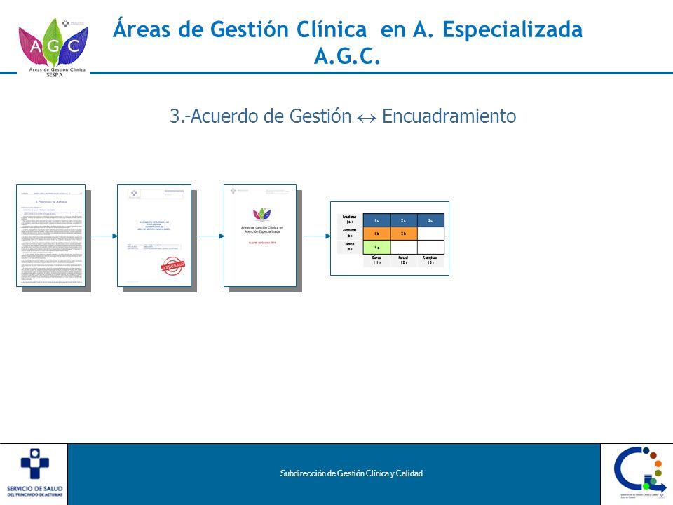 Subdirección de Gestión Clínica y Calidad Áreas de Gestión Clínica en A. Especializada A.G.C. 3.-Acuerdo de Gestión Encuadramiento