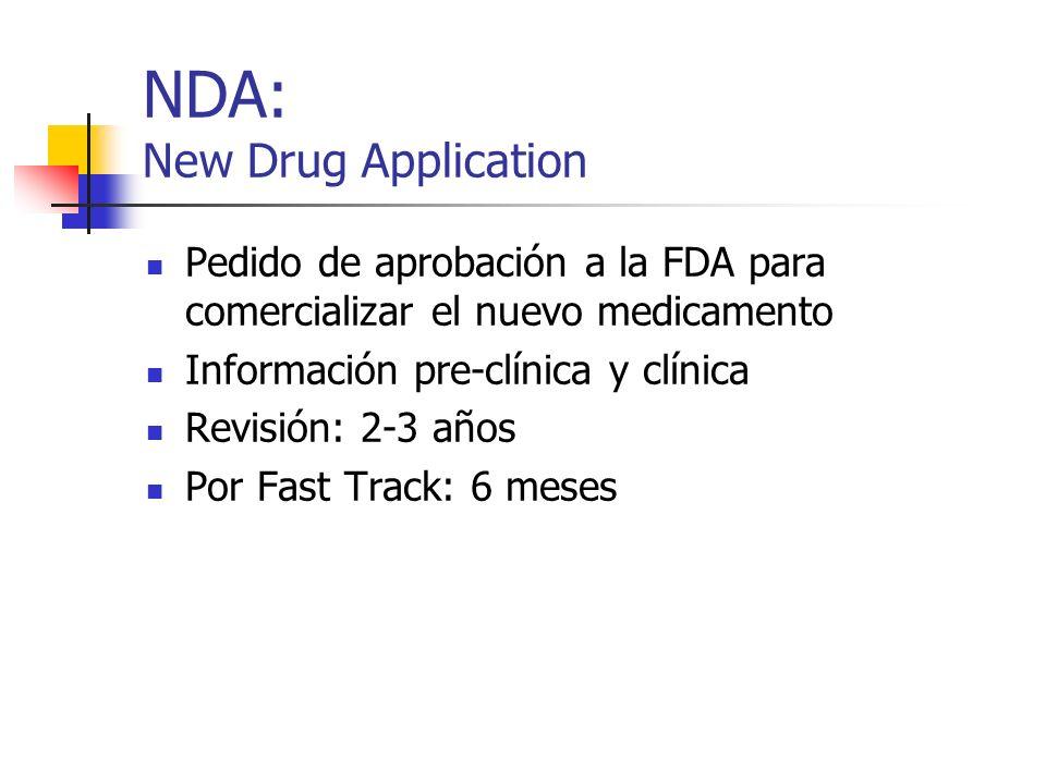 NDA: New Drug Application Pedido de aprobación a la FDA para comercializar el nuevo medicamento Información pre-clínica y clínica Revisión: 2-3 años P