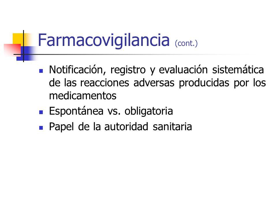 Farmacovigilancia (cont.) Notificación, registro y evaluación sistemática de las reacciones adversas producidas por los medicamentos Espontánea vs. ob