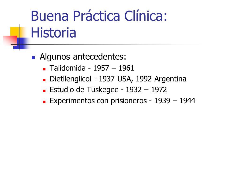 Buena Práctica Clínica: Historia Algunos antecedentes: Talidomida - 1957 – 1961 Dietilenglicol - 1937 USA, 1992 Argentina Estudio de Tuskegee - 1932 –