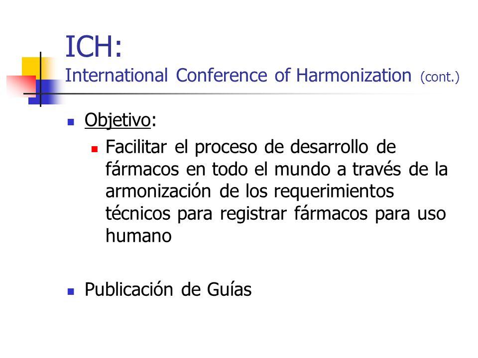 ICH: International Conference of Harmonization (cont.) Objetivo: Facilitar el proceso de desarrollo de fármacos en todo el mundo a través de la armoni