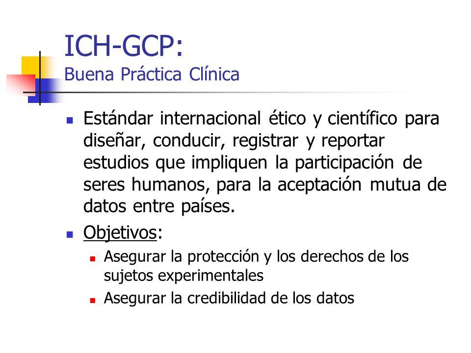 ICH-GCP: Buena Práctica Clínica Estándar internacional ético y científico para diseñar, conducir, registrar y reportar estudios que impliquen la parti