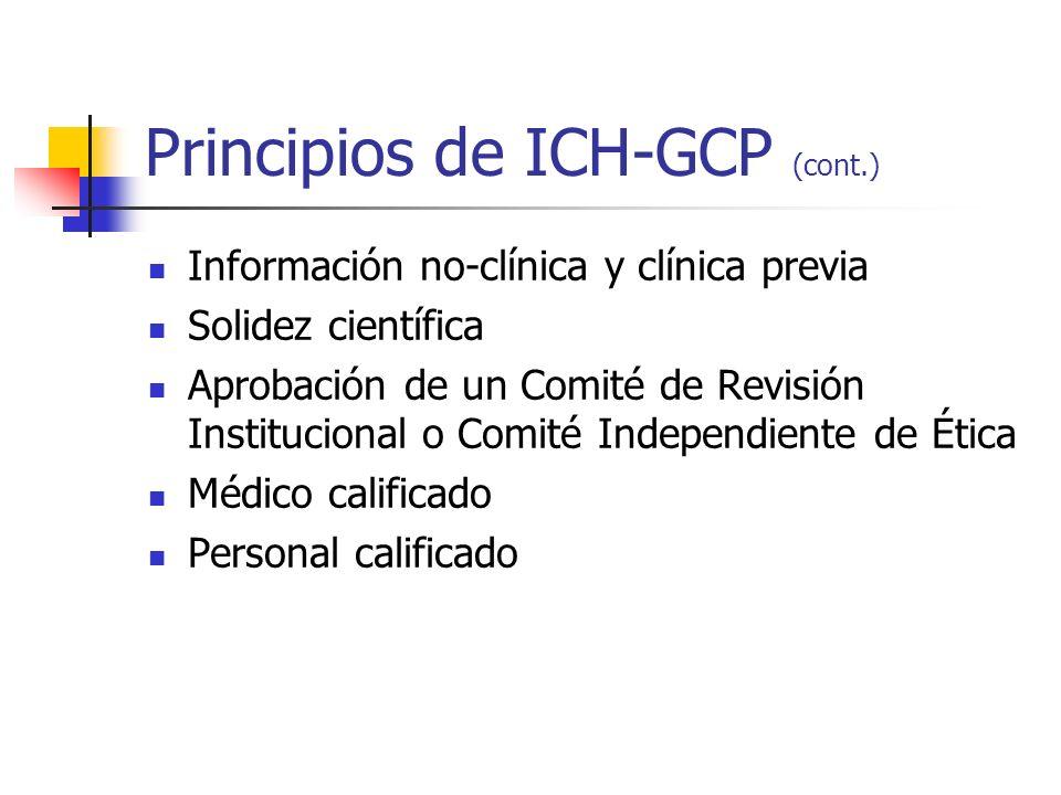 Principios de ICH-GCP (cont.) Información no-clínica y clínica previa Solidez científica Aprobación de un Comité de Revisión Institucional o Comité In