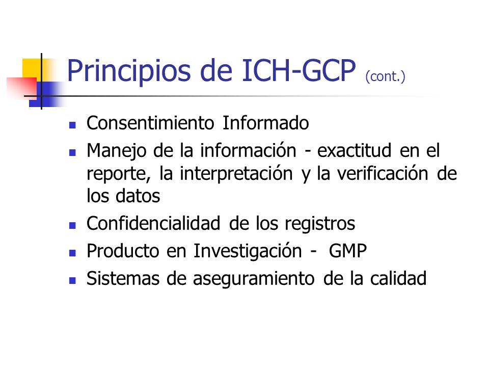 Principios de ICH-GCP (cont.) Consentimiento Informado Manejo de la información - exactitud en el reporte, la interpretación y la verificación de los