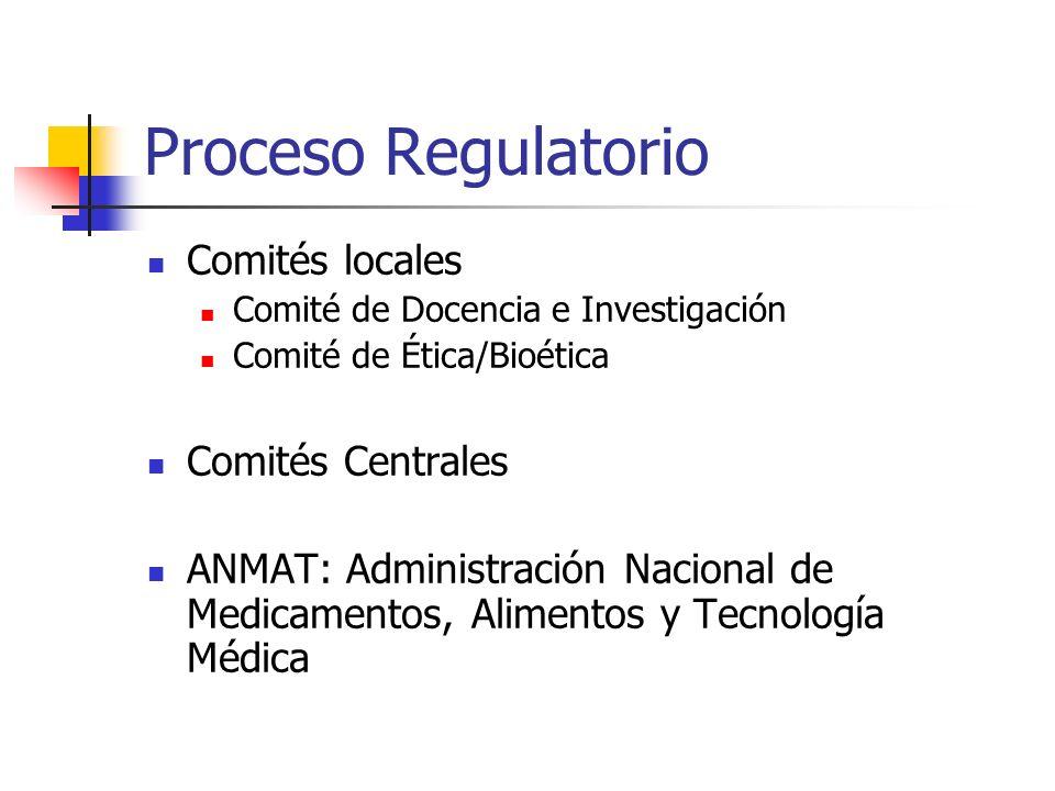 Proceso Regulatorio Comités locales Comité de Docencia e Investigación Comité de Ética/Bioética Comités Centrales ANMAT: Administración Nacional de Me