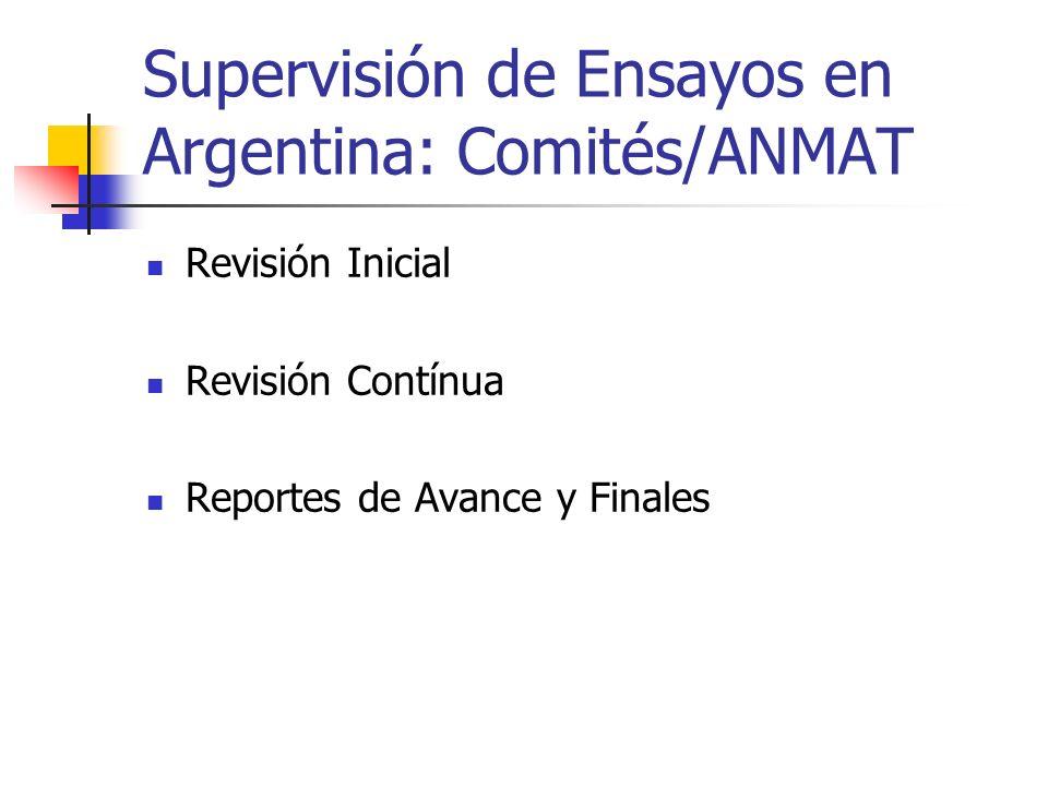 Supervisión de Ensayos en Argentina: Comités/ANMAT Revisión Inicial Revisión Contínua Reportes de Avance y Finales
