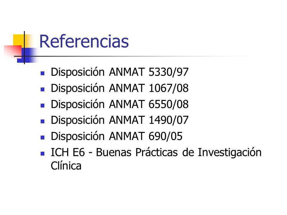 Referencias Disposición ANMAT 5330/97 Disposición ANMAT 1067/08 Disposición ANMAT 6550/08 Disposición ANMAT 1490/07 Disposición ANMAT 690/05 ICH E6 -