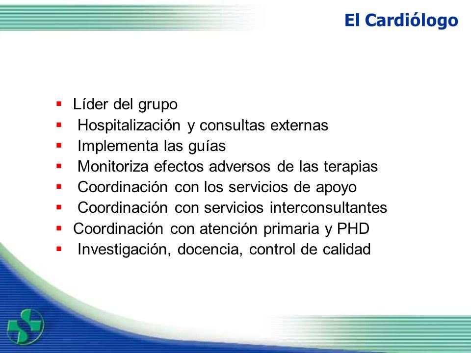 Enfermera Coordina todos los procesos Atención en Hospital de día Visita conjunta con cardiología Educación del paciente y su familia Seguimiento telefónico Evaluación global del paciente: - Cumplimiento terapéutico - Comprensión de la enfermedad - Control de peso y constantes - Vacunación