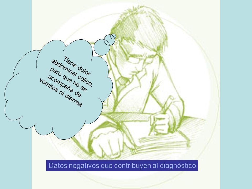 Tiene dolor abdominal cólico, pero que no se acompaña de vómitos ni diarrea Datos negativos que contribuyen al diagnóstico