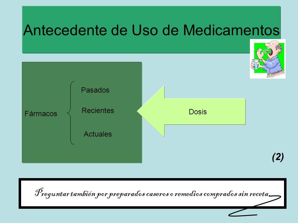 Antecedente de Uso de Medicamentos Fármacos Pasados Recientes Actuales Dosis Preguntar también por preparados caseros o remedios comprados sin receta.