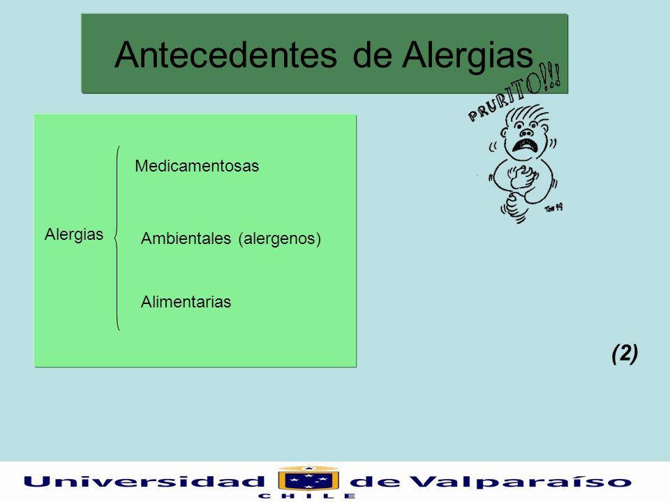 Antecedentes de Alergias Alergias Medicamentosas Ambientales (alergenos) Alimentarias (2)