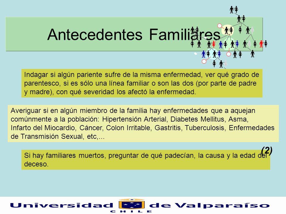 Antecedentes Familiares Averiguar si en algún miembro de la familia hay enfermedades que a aquejan comúnmente a la población: Hipertensión Arterial, D