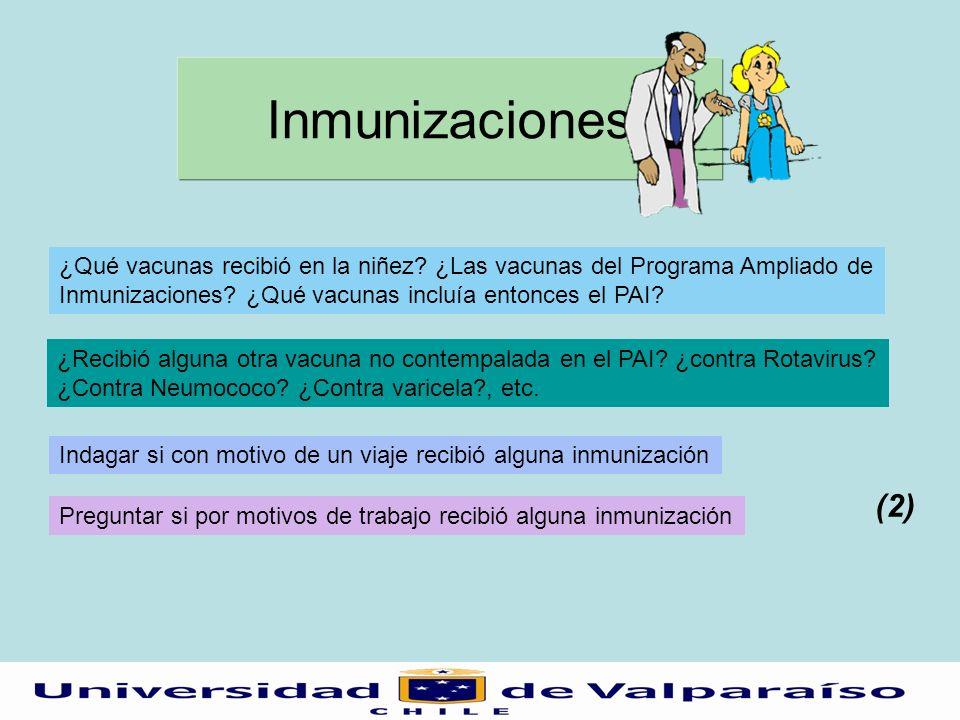 Inmunizaciones ¿Qué vacunas recibió en la niñez? ¿Las vacunas del Programa Ampliado de Inmunizaciones? ¿Qué vacunas incluía entonces el PAI? ¿Recibió