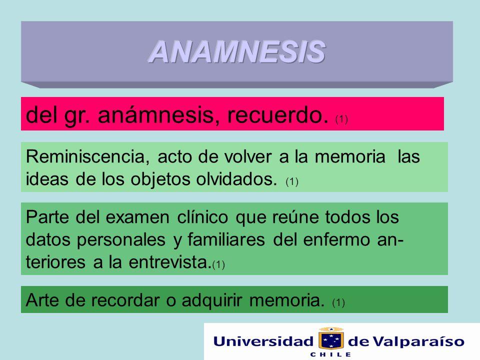 del gr. anámnesis, recuerdo. (1) Reminiscencia, acto de volver a la memoria las ideas de los objetos olvidados. (1) Parte del examen clínico que reúne
