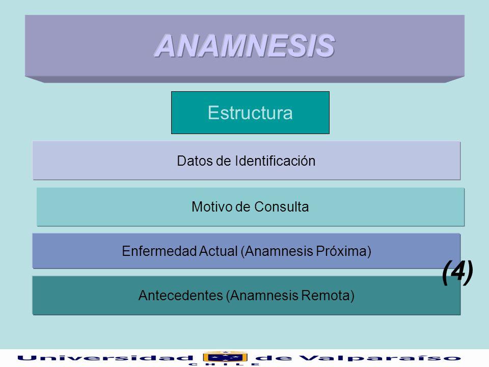 Estructura Datos de Identificación Motivo de Consulta Antecedentes (Anamnesis Remota) Enfermedad Actual (Anamnesis Próxima) (4)