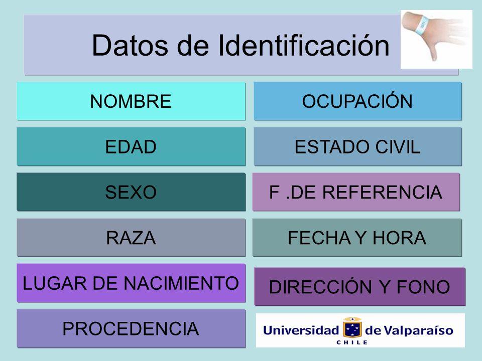 Datos de Identificación NOMBRE PROCEDENCIA EDAD OCUPACIÓN FECHA Y HORA SEXO RAZA LUGAR DE NACIMIENTO ESTADO CIVIL F.DE REFERENCIA DIRECCIÓN Y FONO