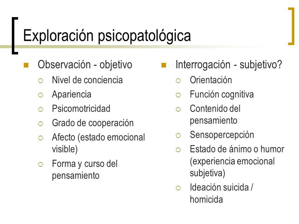 Exploración psicopatológica Observación - objetivo Nivel de conciencia Apariencia Psicomotricidad Grado de cooperación Afecto (estado emocional visibl