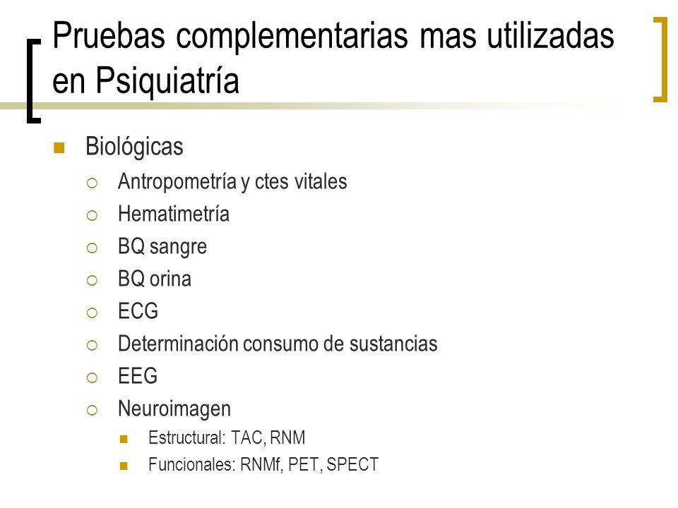 Pruebas complementarias mas utilizadas en Psiquiatría Biológicas Antropometría y ctes vitales Hematimetría BQ sangre BQ orina ECG Determinación consum