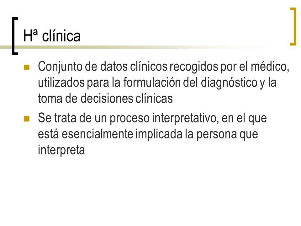 Elementos de la Hª clínica Subjetivos : registro de lo que nos cuenta el paciente Datos de identificación Motivo de consulta (queja principal) Enfermedad actual o Anamnesis Qué le pasa.