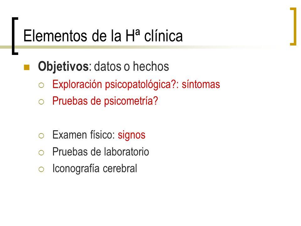 Elementos de la Hª clínica Objetivos : datos o hechos Exploración psicopatológica?: síntomas Pruebas de psicometría? Examen físico: signos Pruebas de