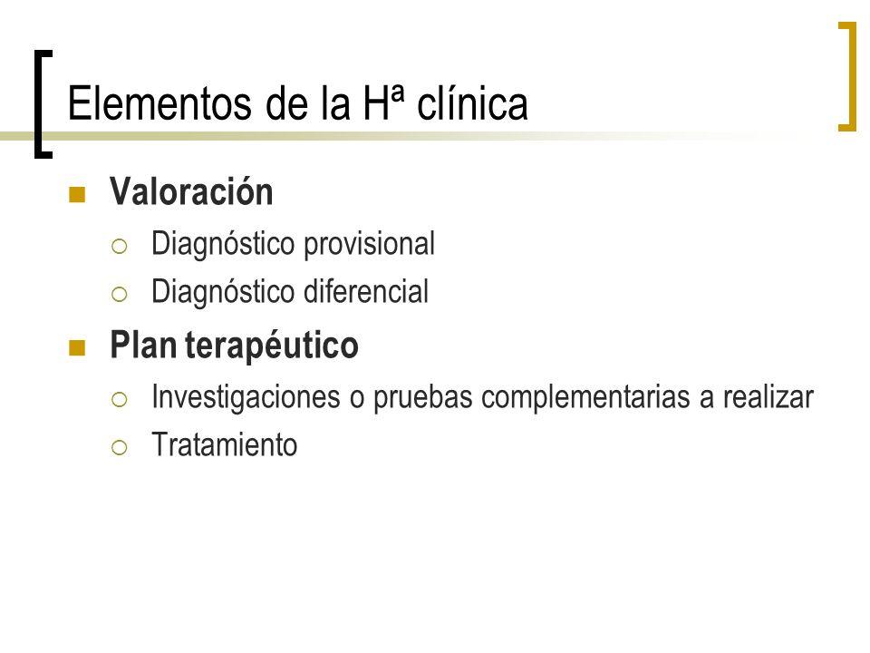 Elementos de la Hª clínica Valoración Diagnóstico provisional Diagnóstico diferencial Plan terapéutico Investigaciones o pruebas complementarias a rea