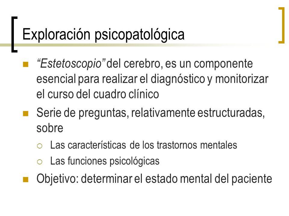 Exploración psicopatológica Estetoscopio del cerebro, es un componente esencial para realizar el diagnóstico y monitorizar el curso del cuadro clínico