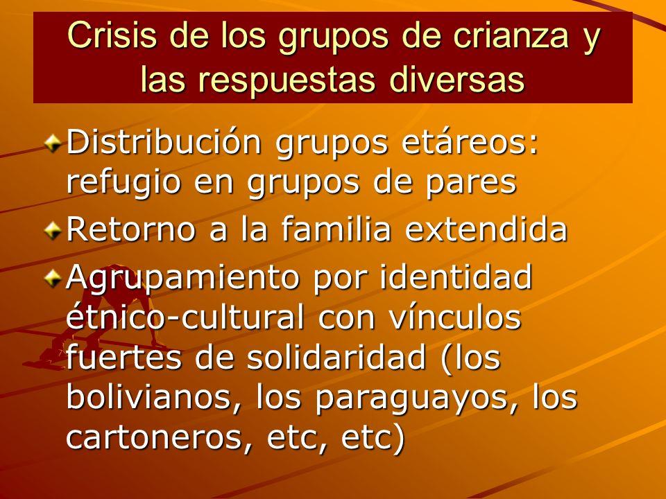 Crisis de los grupos de crianza y las respuestas diversas Distribución grupos etáreos: refugio en grupos de pares Retorno a la familia extendida Agrupamiento por identidad étnico-cultural con vínculos fuertes de solidaridad (los bolivianos, los paraguayos, los cartoneros, etc, etc)