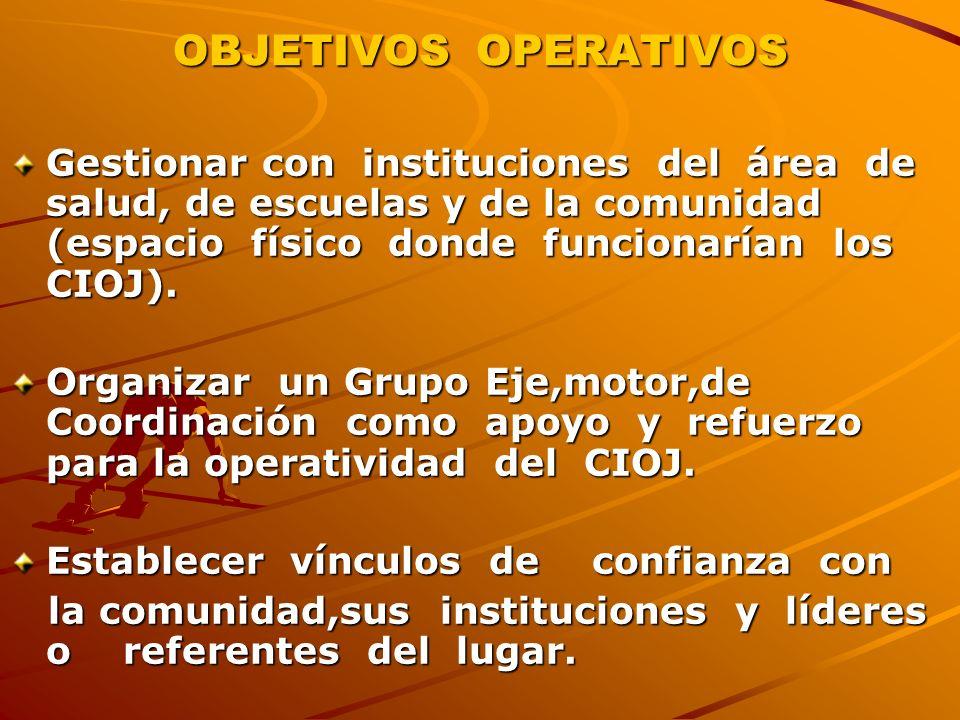 OBJETIVOS OPERATIVOS Gestionar con instituciones del área de salud, de escuelas y de la comunidad (espacio físico donde funcionarían los CIOJ).