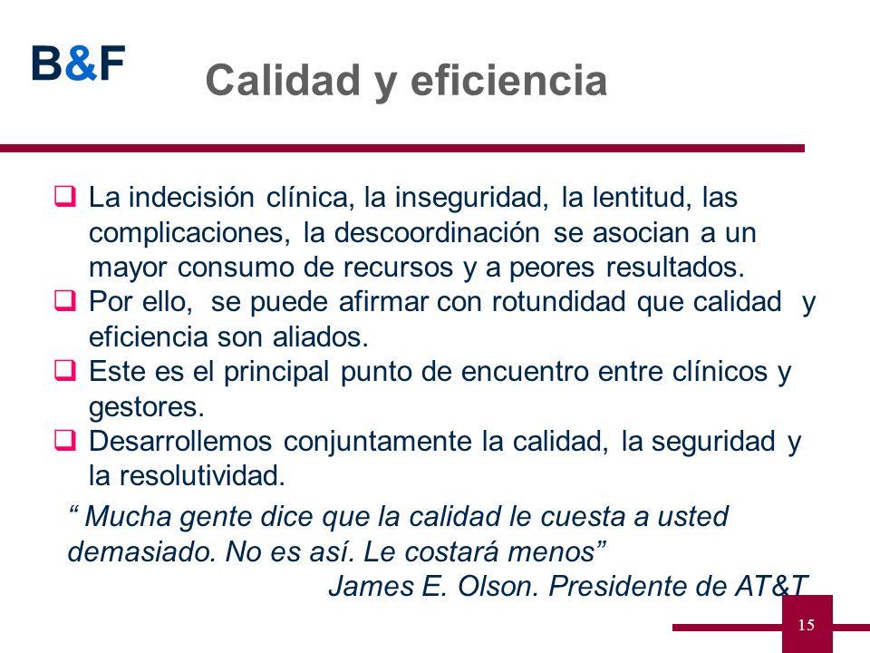 B&FB&F 15 Calidad y eficiencia Mucha gente dice que la calidad le cuesta a usted demasiado. No es así. Le costará menos James E. Olson. Presidente de