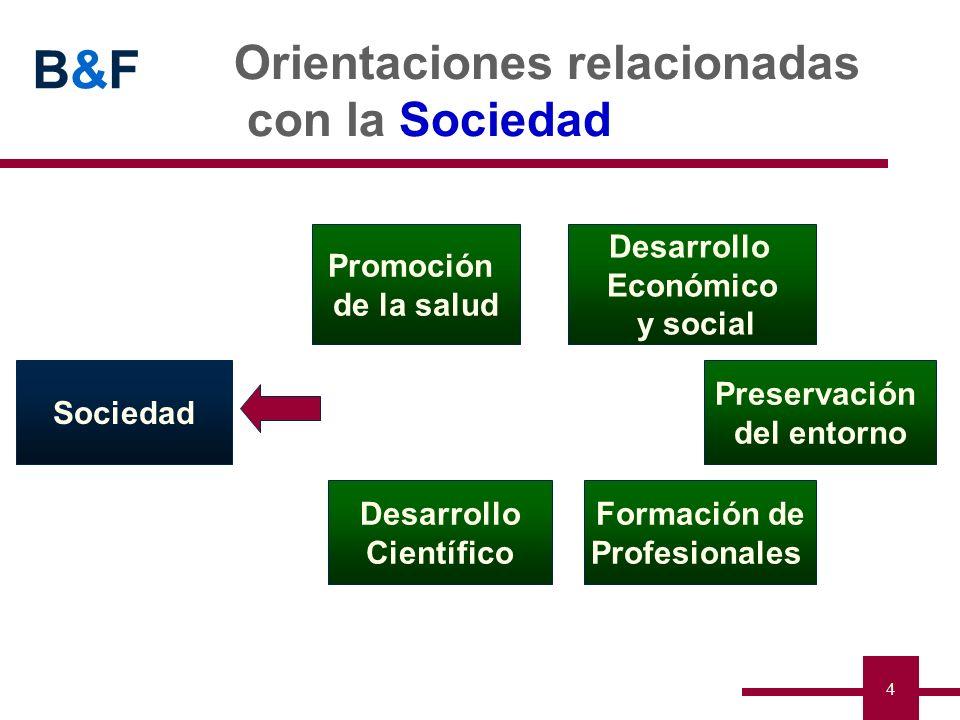 B&FB&F 4 Orientaciones relacionadas con la Sociedad Desarrollo Científico Preservación del entorno Desarrollo Económico y social Sociedad Promoción de
