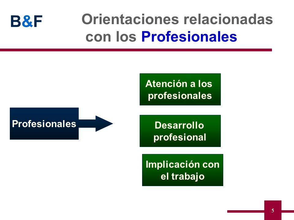 B&FB&F 5 Orientaciones relacionadas con los Profesionales Profesionales Desarrollo profesional Atención a los profesionales Implicación con el trabajo