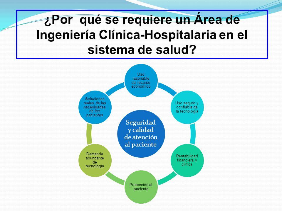 ¿Por qué se requiere un Área de Ingeniería Clínica-Hospitalaria en el sistema de salud? Seguridad y calidad de atención al paciente Uso razonable del
