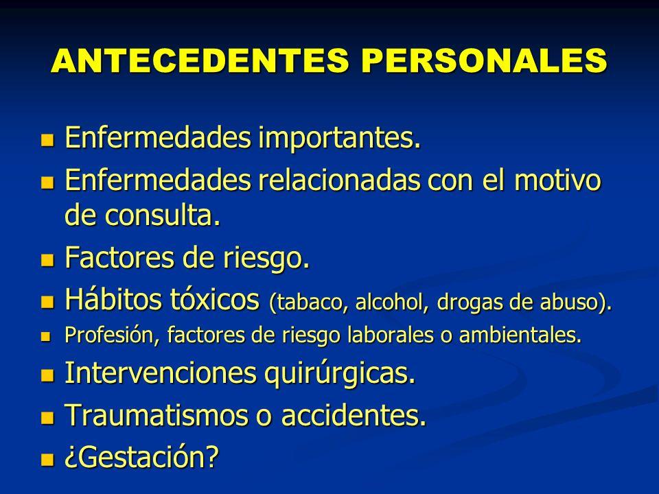 ANTECEDENTES PERSONALES Enfermedades importantes. Enfermedades importantes. Enfermedades relacionadas con el motivo de consulta. Enfermedades relacion