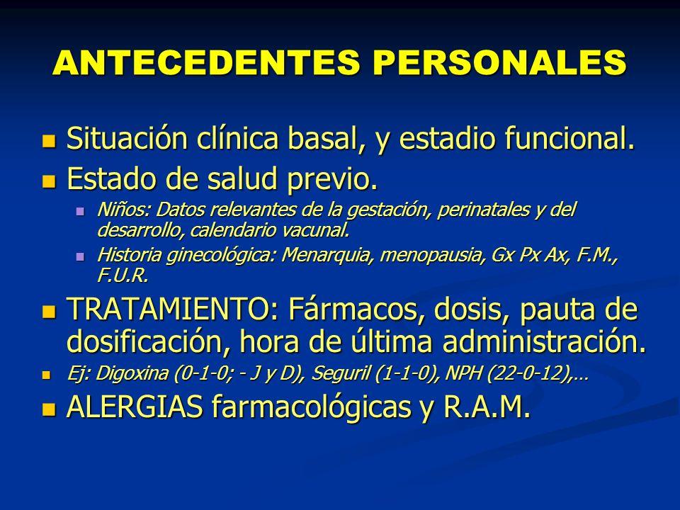 ANTECEDENTES PERSONALES Situación clínica basal, y estadio funcional. Situación clínica basal, y estadio funcional. Estado de salud previo. Estado de
