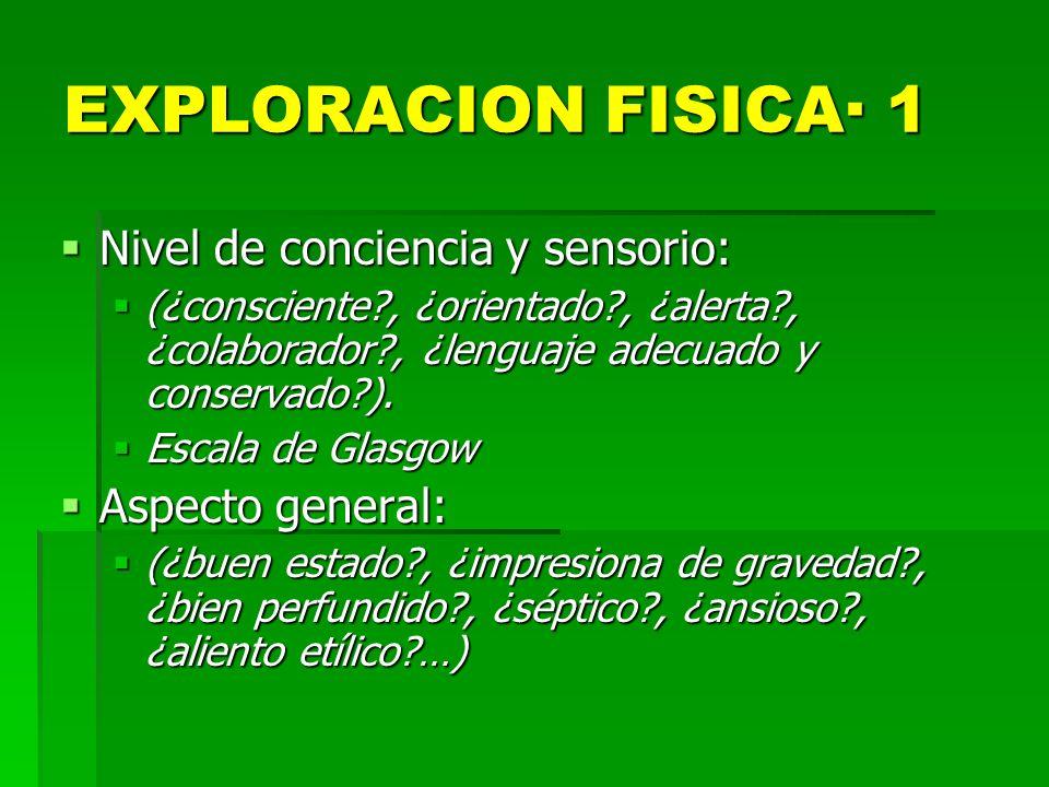 EXPLORACION FISICA· 1 Nivel de conciencia y sensorio: Nivel de conciencia y sensorio: (¿consciente?, ¿orientado?, ¿alerta?, ¿colaborador?, ¿lenguaje a