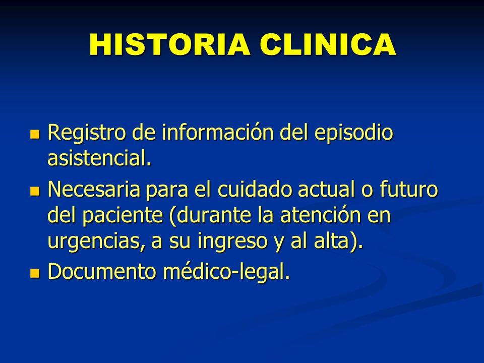 HISTORIA CLINICA Registro de información del episodio asistencial. Registro de información del episodio asistencial. Necesaria para el cuidado actual