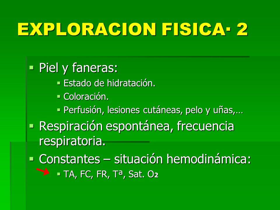 EXPLORACION FISICA· 2 Piel y faneras: Piel y faneras: Estado de hidratación. Estado de hidratación. Coloración. Coloración. Perfusión, lesiones cutáne