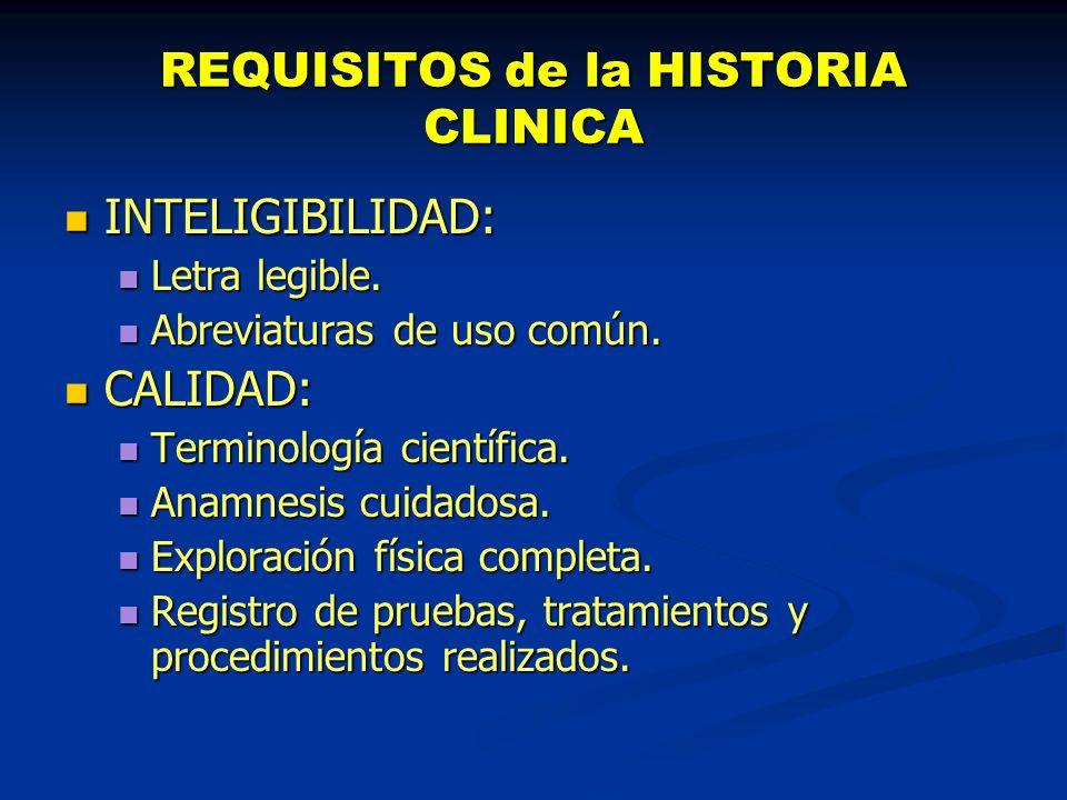 REQUISITOS de la HISTORIA CLINICA · 2 FIABILIDAD.FIABILIDAD.