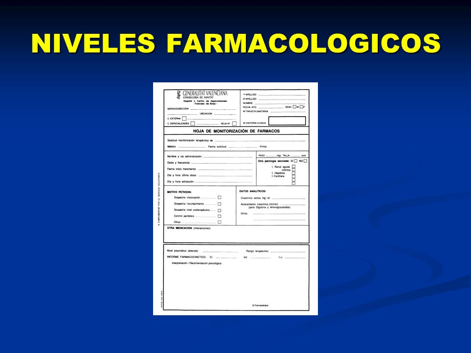 NIVELES FARMACOLOGICOS