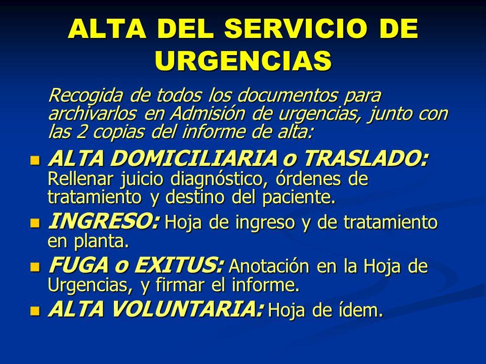 ALTA DEL SERVICIO DE URGENCIAS Recogida de todos los documentos para archivarlos en Admisión de urgencias, junto con las 2 copias del informe de alta: