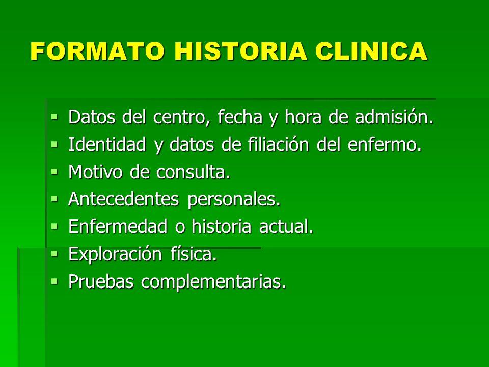 FORMATO HISTORIA CLINICA Datos del centro, fecha y hora de admisión. Datos del centro, fecha y hora de admisión. Identidad y datos de filiación del en